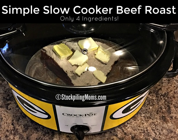 Simple Slow Cooker Beef Roast recipe that you can dump in the crockpot and leave for 10 hours!