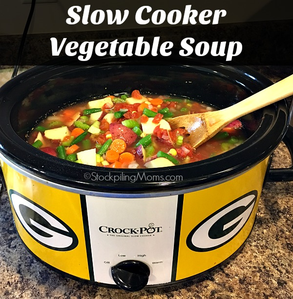 You will love this tasty Slow Cooker Vegetable Soup that you can dump in the crockpot in less than 5 minutes!