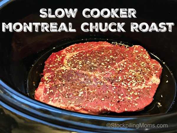 Slow Cooker Montreal Chuck Roast recipe is the perfect crockpot dish with only ingredients!