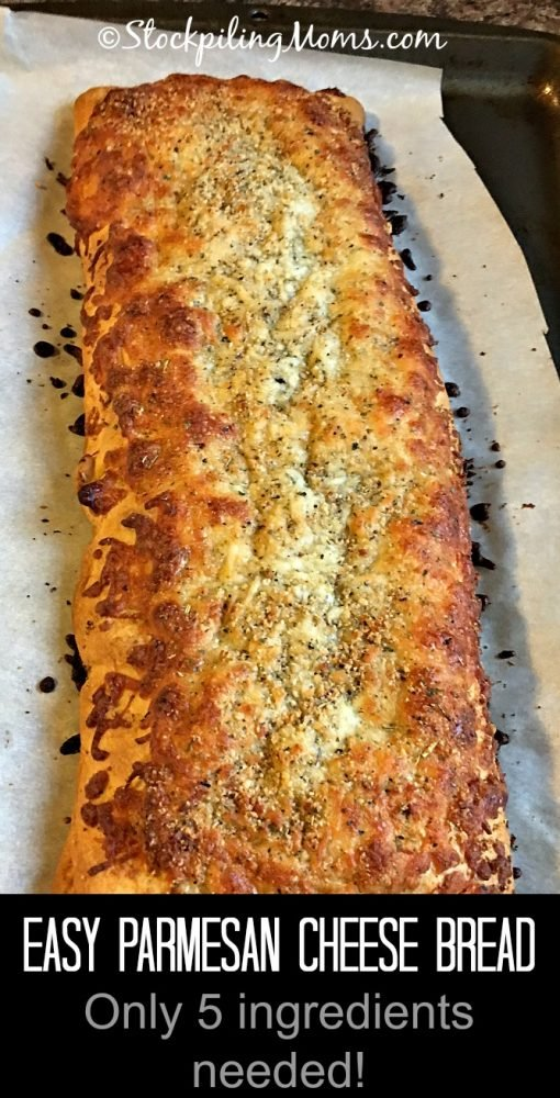 Easy Parmesan Cheese Bread has only 5 ingredients and is ready in 20 minutes!