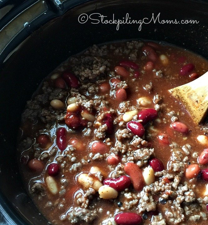 Slow Cooker 3 Ingredient Bean Chili recipe is the best dump and go crockpot meal!