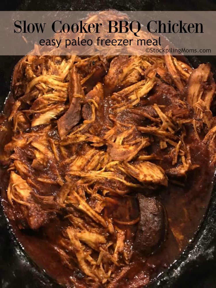 Slow Cooker BBQ Chicken is an easy Paleo freezer meal.