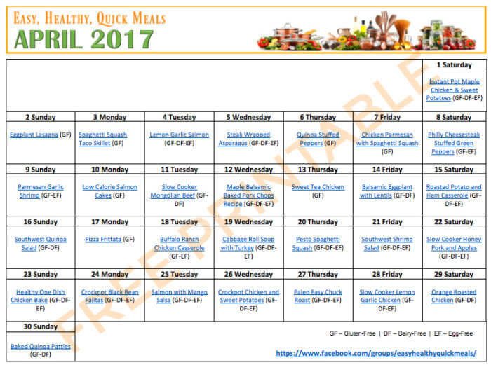 Easy Healthy Quick Monthly Menu Plan