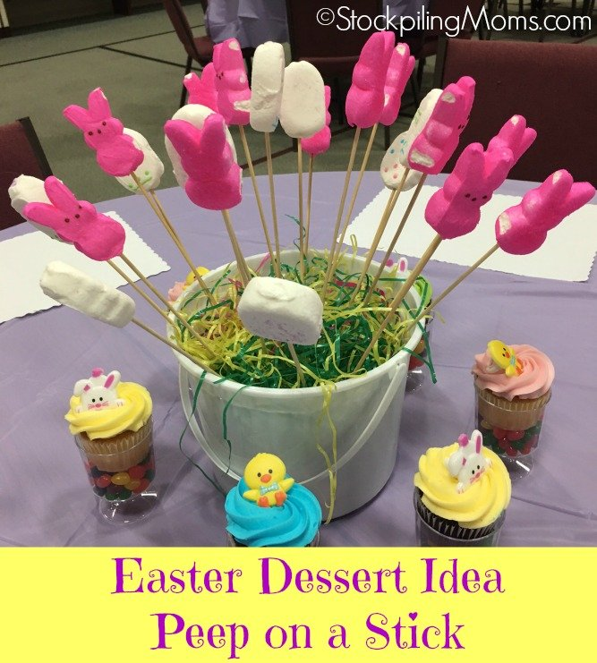 Such a simple but cute Easter Dessert Idea of a Peep on a Stick!