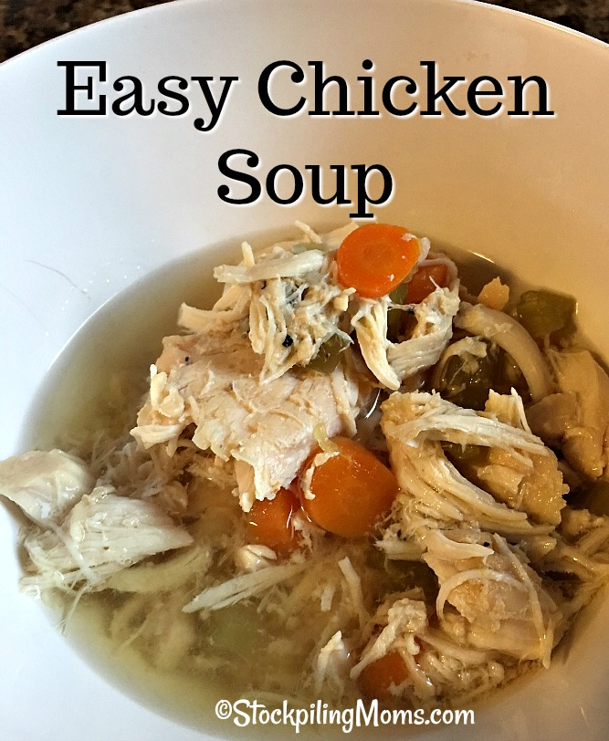 Easy Chicken Soup that can be made in the slow cooker all day or on the stove in less than 30 minutes!