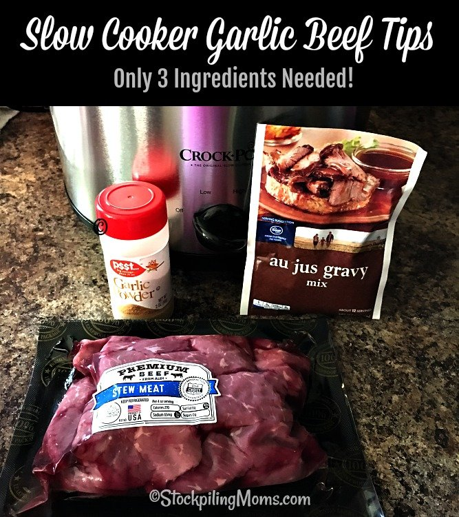 Slow Cooker Garlic Beef Tips is the best and easiest crockpot dinner meal ever!
