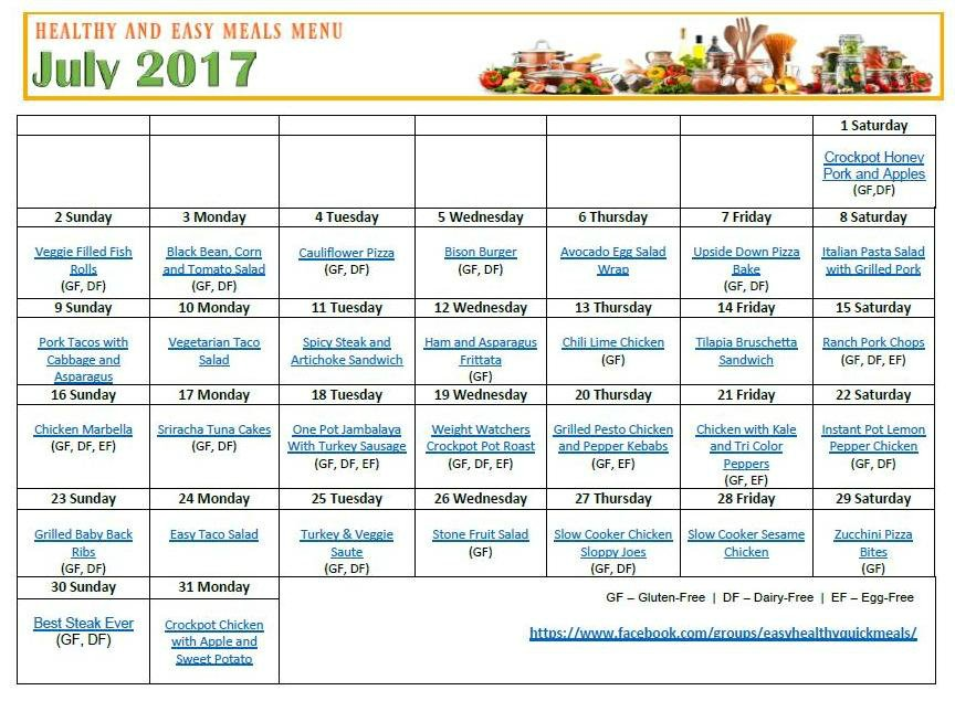 EASY HEALTHY QUICK MONTHLY MENU PLAN July