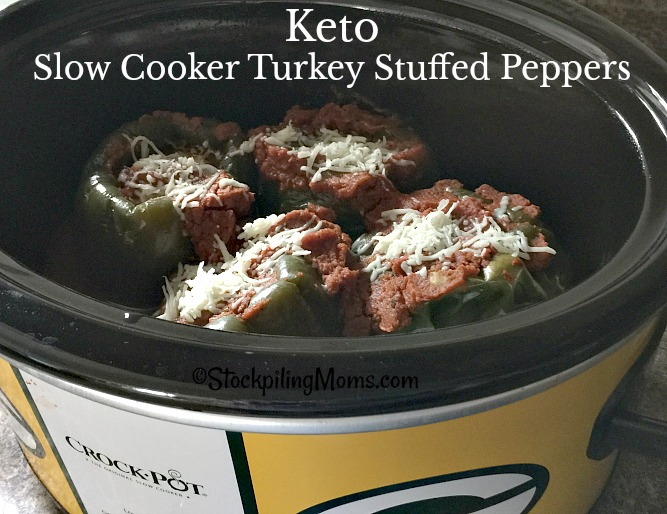 Keto Slow Cooker Turkey Stuffed Peppers is a great low carb, healthy crockpot recipe!