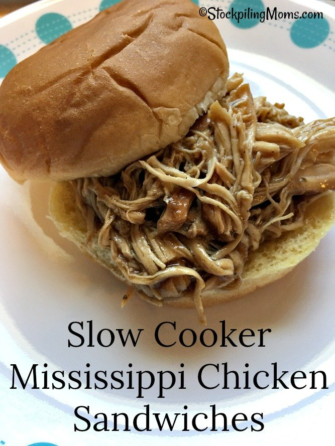 Slow Cooker Mississippi Chicken Sandwiches is perfect for a quick dinner meal!