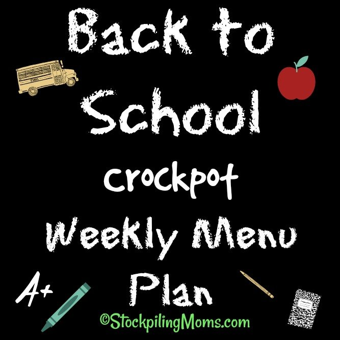 Back to School Crockpot Weekly Menu Plan to help you save time and money on dinners this week!