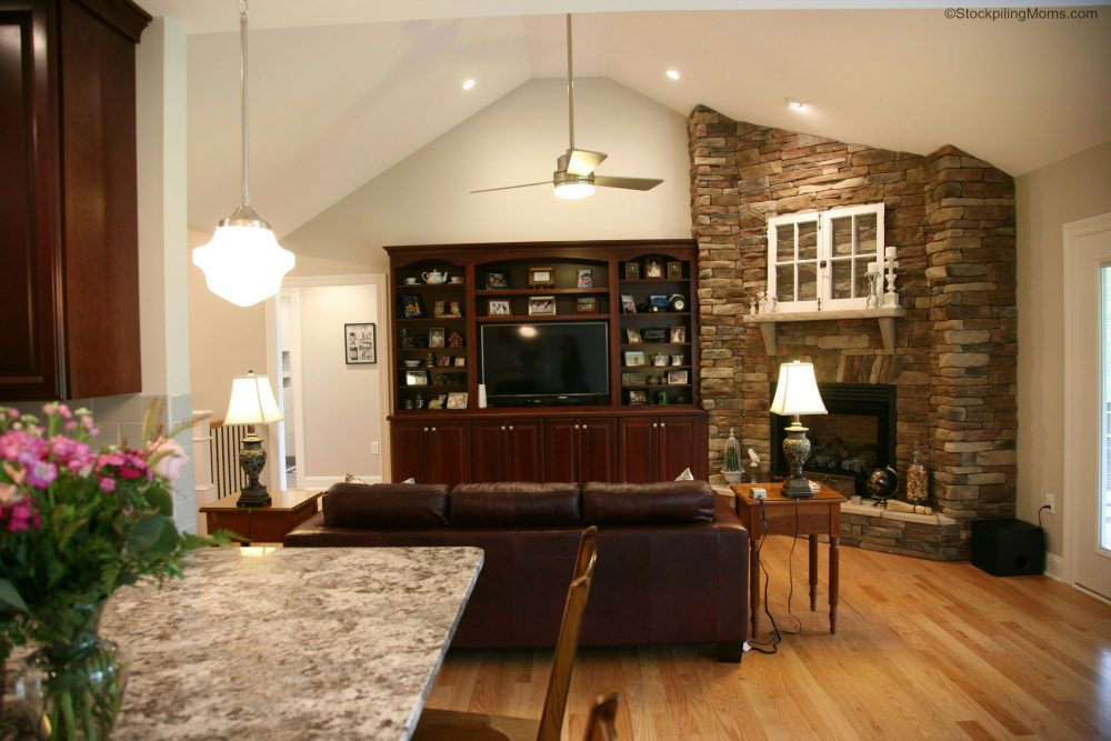 Great Room - Stone Fireplace and Custom Built In