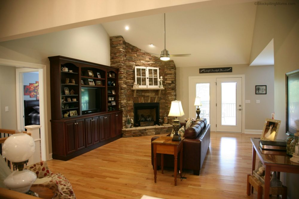 great room u2013 stone fireplace and custom built in