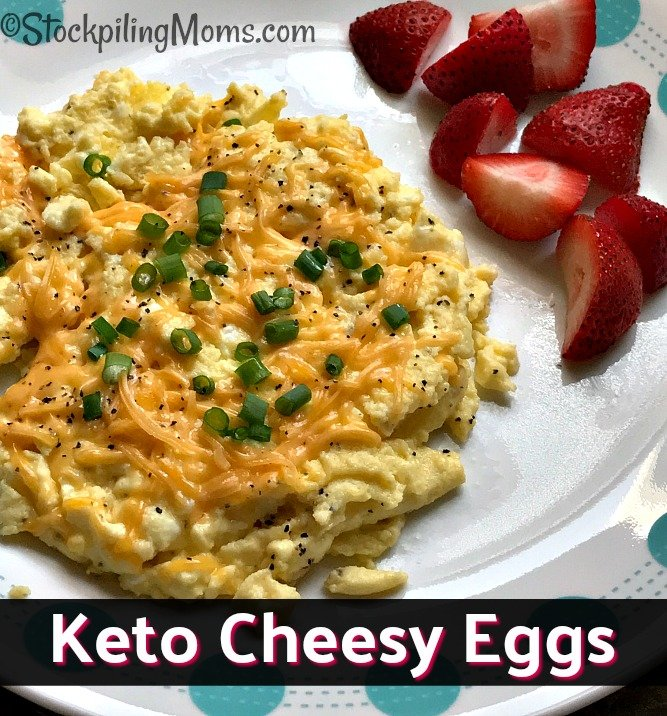 Keto Cheesy Eggs recipe you can make in less than five minutes! Perfect for those busy mornings or as a dinner meal.