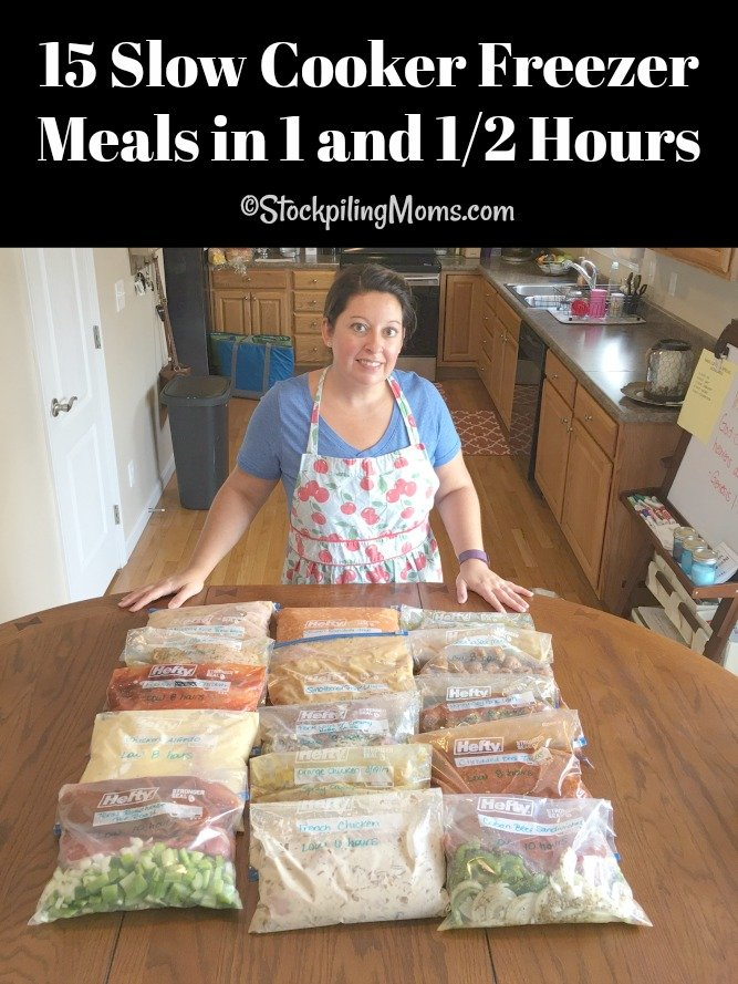 Make 15 Slow Cooker Freezer Meals in 1 and 1/2 Hours with this plan!