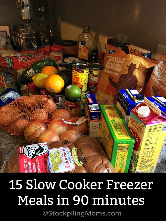 How to make 15 Slow Cooker Freezer Meals in 90 minutes for your family's dinners!
