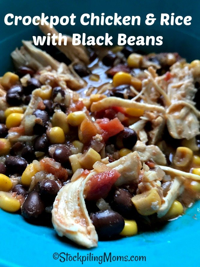 Crockpot Chicken & Rice with Black Beans is a great easy freezer meal that you can prep in as little as five minutes!