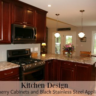 Kitchen Design – Dark Cherry Cabinets and Black Stainless Steel Appliances
