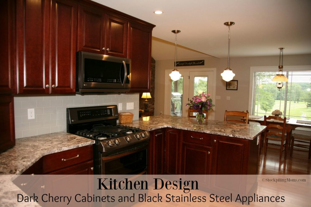 black kitchen cabinets with stainless steel appliances kitchen design cherry cabinets and black stainless 12401