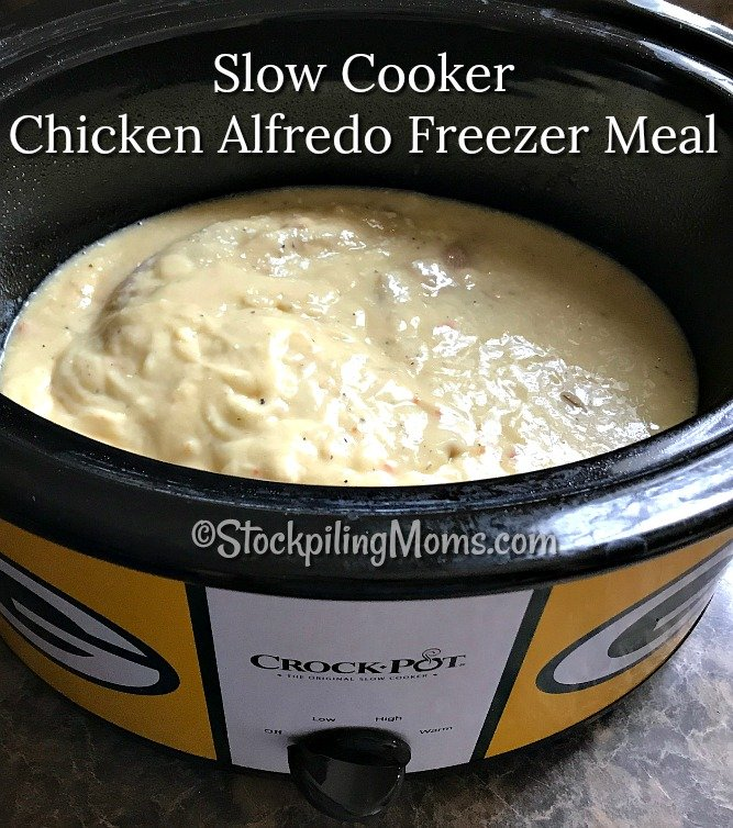 Slow Cooker Chicken Alfredo Freezer Meal is so easy to make with only 4 ingredients and it tastes so good!