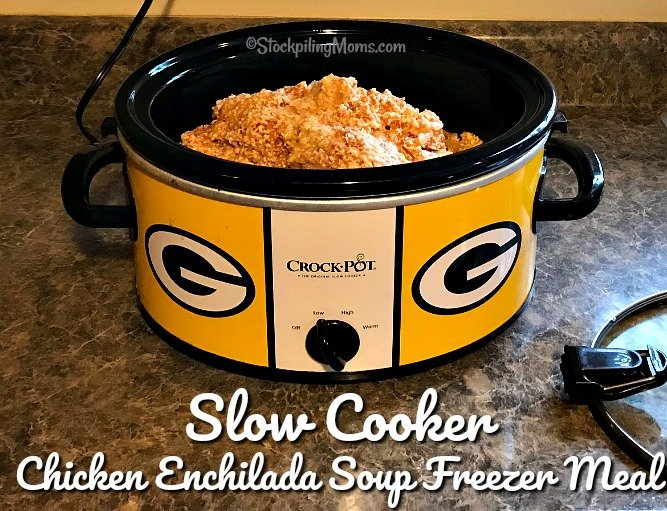Slow Cooker Chicken Enchilada Soup Freezer Meal is the perfect crockpot soup recipe for those Fall cool nights!
