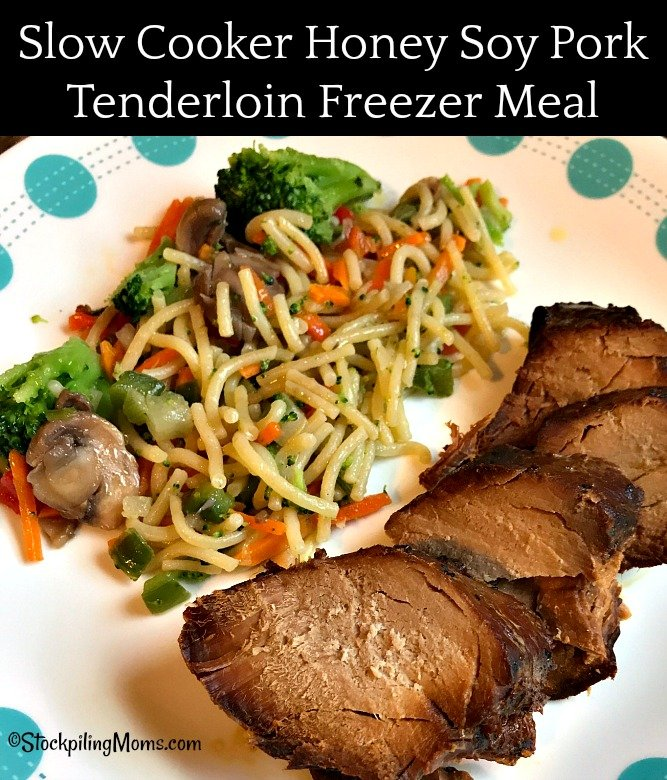 Slow Cooker Honey Soy Pork Tenderloin Freezer Meal is so full of flavor and makes a lot of food for a crowd!