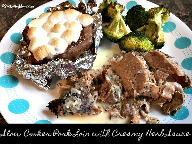 Slow Cooker Pork Loin with Creamy Herb Sauce is the perfect freezer meal for a Sunday dinner with family!