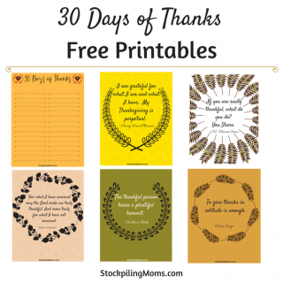 30 Days of Thanks Printable for Thanksgiving