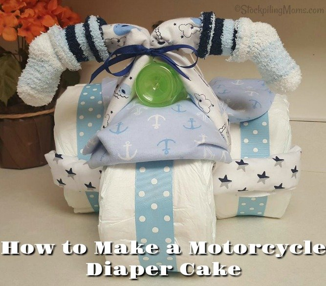 How to Make a Motorcycle Diaper Cake as a baby shower gift!