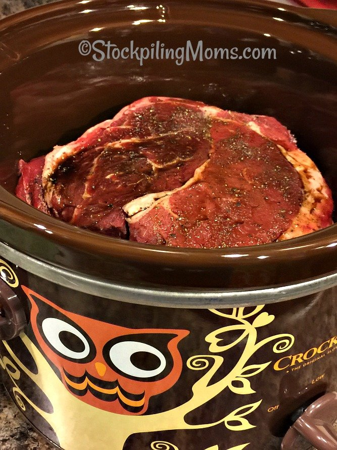 Slow Cooker Beef Onion Chuck Roast Recipe is so flavorful and you only need 4 ingredients!