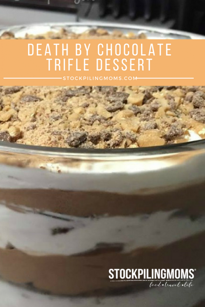 Death by Chocolate Trifle Dessert. Really the name says it all. Perfect for parties or holiday gatherings. Once you try it you will LOVE this dessert.
