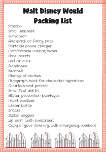 walt disney world packing list free printable