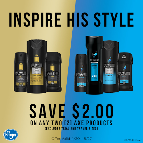 Inspire His Style and Save Big on AXE at Kroger