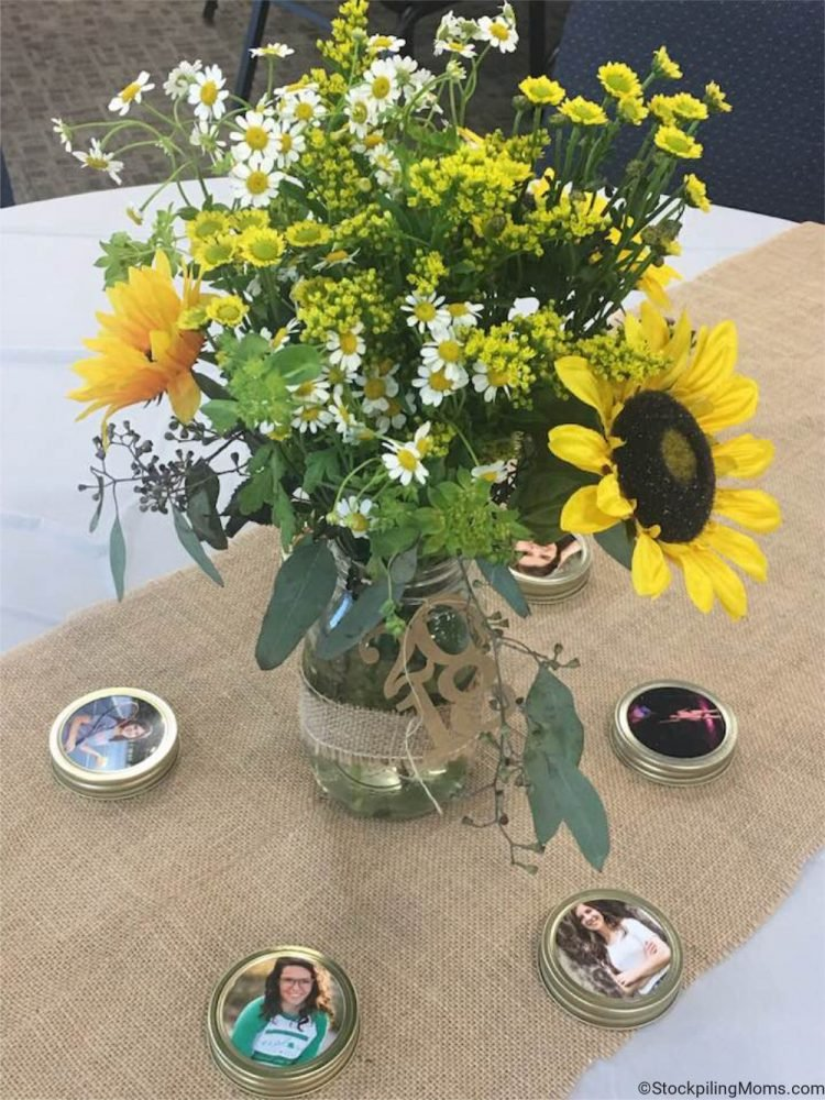 Check out this Inexpensive Rustic Graduation Table Centerpiece. It is easy to make and looks beautiful.