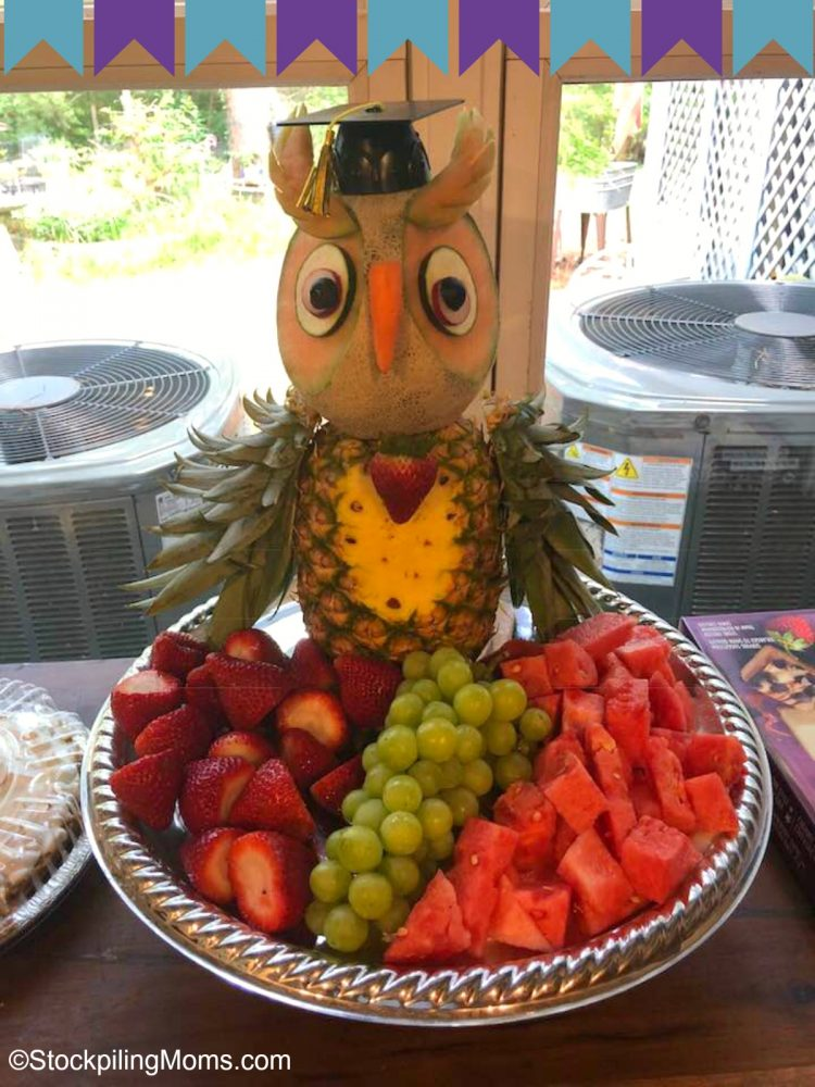 ThisGraduation Party Owl Fruit Tray is so easy to assemble and everyone will enjoy it!