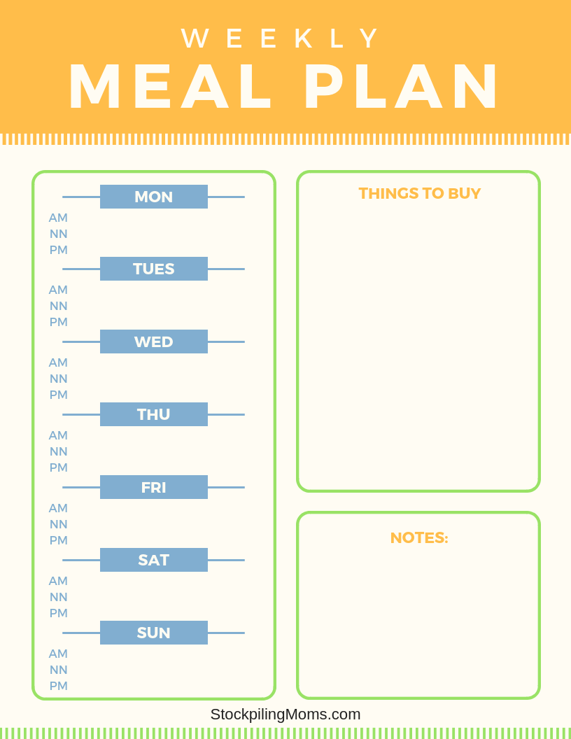 Tips for Using a Weekly Meal Plan - Free Weekly Meal Plan Printable